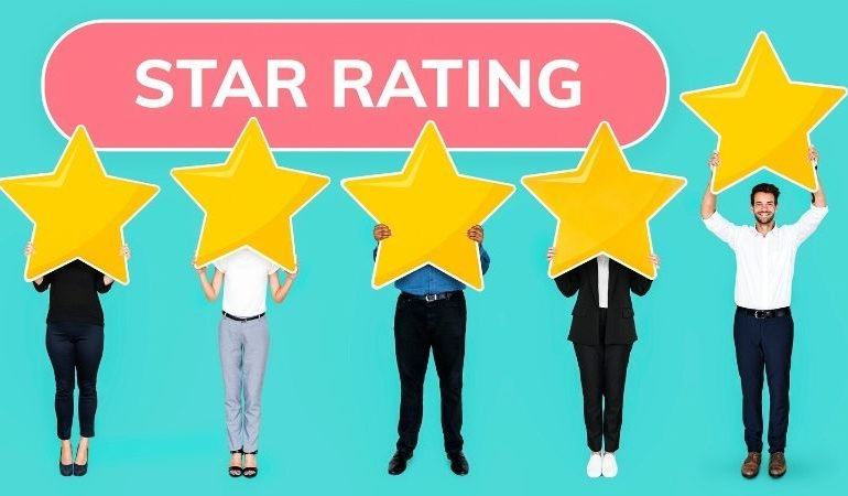 Your business website needs customer review page - different people holding up star rating sign