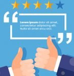 customer review page examples - two thumbs and 4-star rating